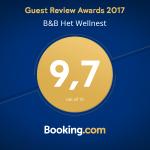 Booking.com award B&B Het Wellnest